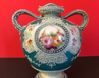 Nippon Moriage Hand-Painted Vase