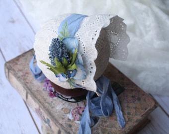 Newborn Girl Photo Prop - White Neeborn Bonnet Lace - Newborn Bonnet - Vintage Baby Bonnet - Blue Baby Bonnet - Lace Baby Bonnet