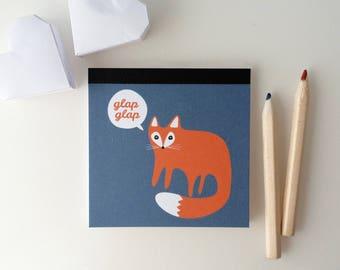 Mini Notepad 8x8cm illustrated little Red Fox