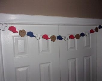 Baseball Garland - Glove, Ball, Hat Cap - Red, White, Navy Blue Kraft Cardstock Paper Birthday Party Baby Shower Hanging Wall Mantel Banner