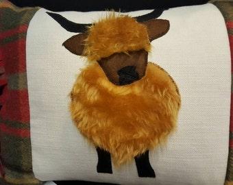 Scottish Tartan Highland Coo Cushion