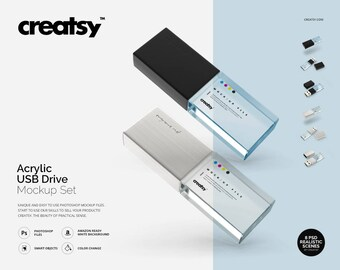 Acrylic USB Drive Mockup Set, Pendrive Mockup, USB Template, Acrylic USB, Smart Object