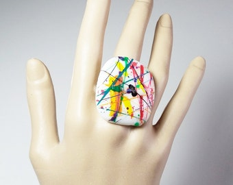 Circus Time Hand Painted Handmade Fused Glass ring