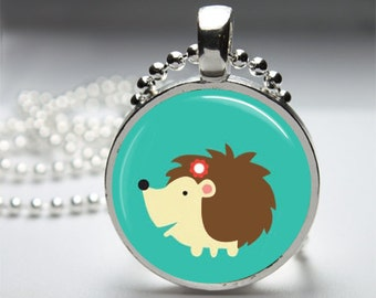 Hedgehog Round Pendant Necklace with Silver Ball or Snake Chain Necklace or Key Ring