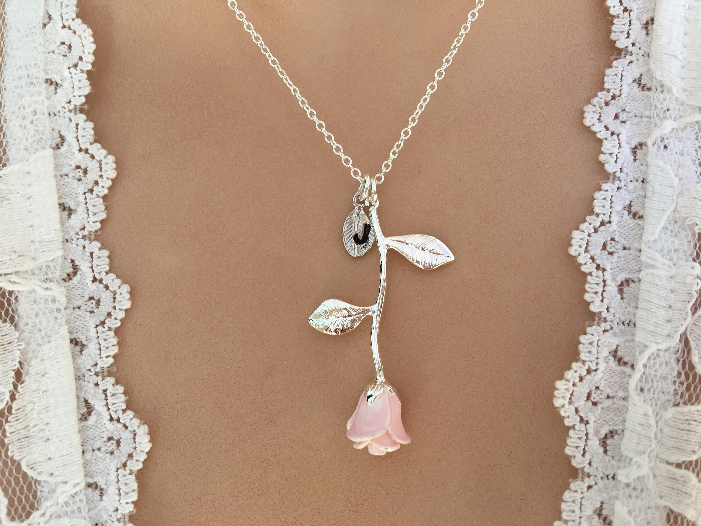Original Pink Rose Necklace Pink Rose Pendant Anniversary