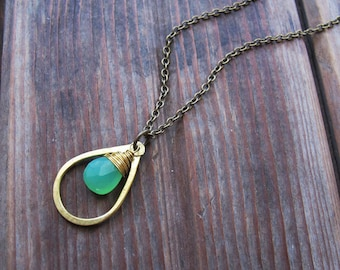 Sundrop - Chrysoprase Necklace - Semi Precious Stone and Brass Teardrop Necklace - Artisan Tangleweeds Jewelry
