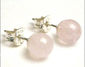 Rose Quartz - 6mm Round Studs Earrings