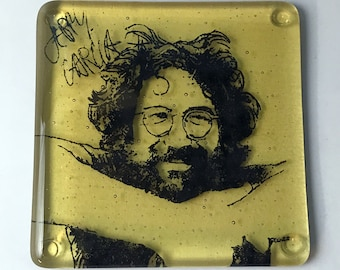 Jerry Garcia Grateful Dead Musician Fused Glass Coaster, Music, Singer, Songwriter, Deadhead
