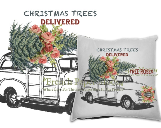 Vintage Digital Shabby Chic Christmas Car with Tree and Roses, Xmas Pillow Transfer Vintage Car, Instant Download Christmas Pillow Transfer