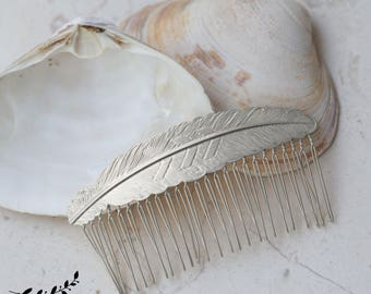 Silver Hair Comb, Feather Comb, Grecian Headpiece, Wedding Comb, Wedding Headpiece, Bridal Comb, Goddess Headpiece, Bridal Hair Accessory