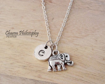 Elephant Initial Necklace - Antique Silver Animal Jewelry - Personalized Monogram Initial Necklace