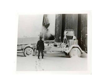 Vintage Photo of Log Splitter Army Truck in Snow Logging Equipment 1940's Original Photograph Logger Black & White