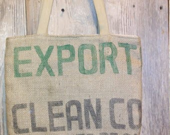 Cafe' Organic  Export coffee shipping bag upcycled tote free shipping
