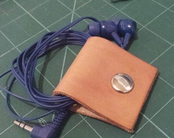 Leather Earphone Cable Organiser