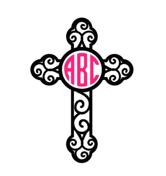 Fancy Cross Monogram Vinyl Decal Custom Car Decal