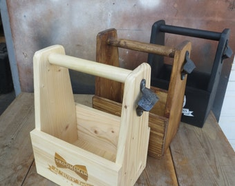 Custom Stained Wooden Beer Tote - Personalized Engraved Gift