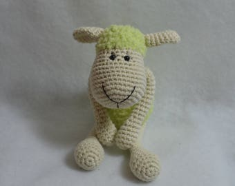 Plush Doudoud little sheep crochet cotton with secure eyes