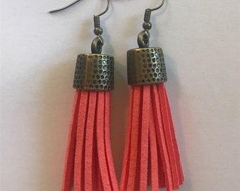 Coral tassel and hammered dangle earrings. Boho jewelry, tassel jewelry