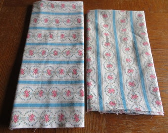 Vintage Pair Striped Pillow Cases Blue Pink Floral Cotton Ticking