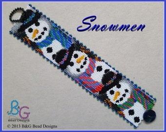 SNOWMEN Peyote Cuff Bracelet Pattern