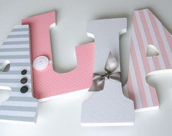 Pink and Grey Nursery Wooden Letters, Girl Bedroom