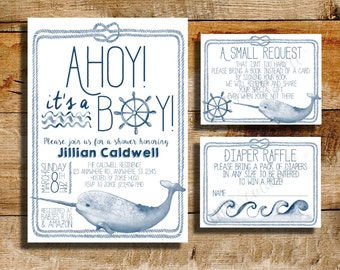 Nautical baby shower invitation | baby shower | ahoy! It's a boy! | Narwhal baby boy shower invite