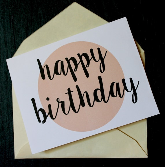 4.25x5.5 Happy Birthday Printable Greeting Card Peach