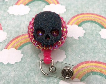 Creepy Cute Holographic Halloween Spooky Skull Purple Punk Goth Nurse Cna Technician Retractable ID Badge Reel Work Name Tag RN Holiday