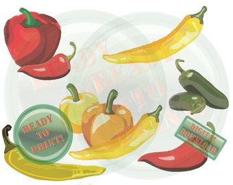Peppers Printable Collage Sheet Vegetable Sketches Bell Peppers Banana Peppers Jalapeno Peppers Anaheim Peppers Red Peppers Yellow Peppers