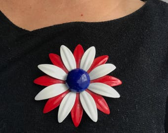 Large Vintage Red White and Blue Enamel Flower Brooch Pin