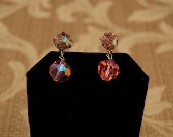 Vintage Pink Crystal Drop Clip Earrings