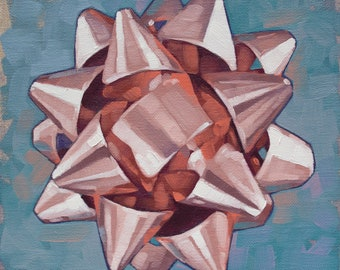 "Oil Painting Still Life of Gift Bow, Original Fine Art Painting, Gift for Art Lover, Collectable Painting - ""Rose Gold Bow Mandala"""