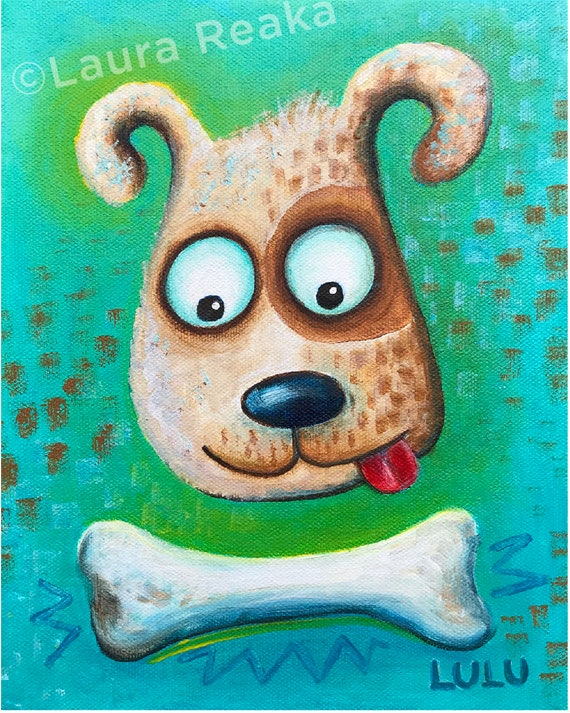 Dog and Bone (8x10 Art Print)