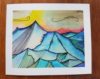 """Aurora Boeralis """"Let it Be"""" Watercolor Mountain Print"""