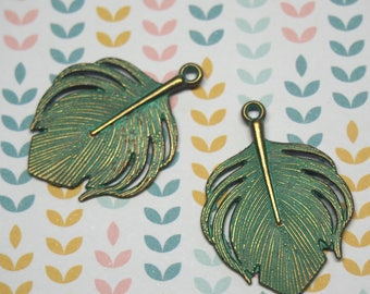 2 large Peacock 33x24mm verdigris finish gold metal feather charms