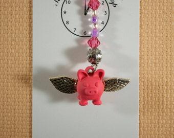 Flying Pig Scissor Fob, Key Fob, Purse Fob, Beaded Fob, Zipper Fob