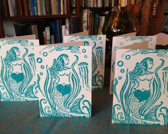 5 Hand Carved Mermaid Block Print Spirit of Love Greeting Cards - White on Blue