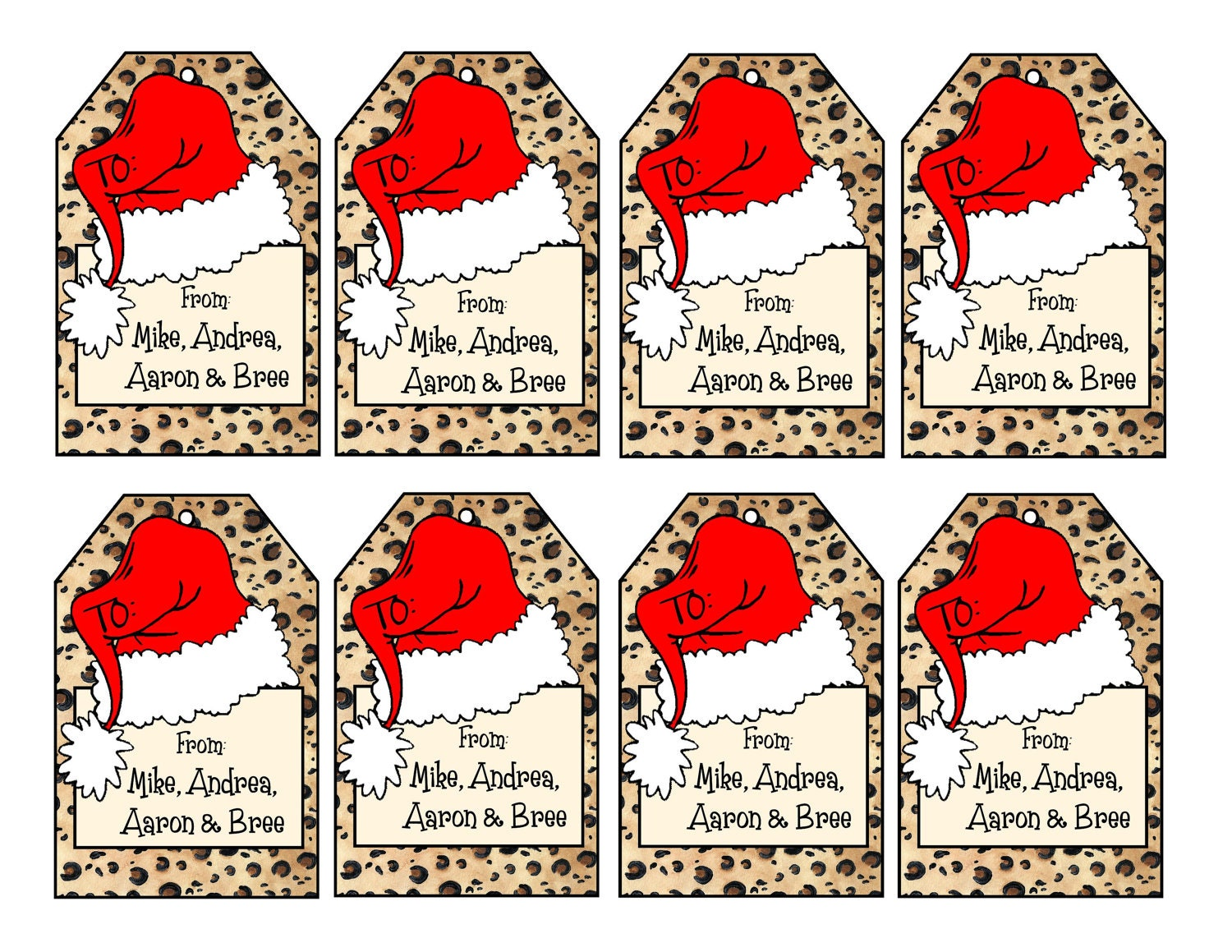Printable personalized leopard print christmas gift tags zoom negle Images