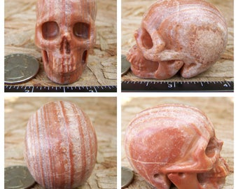 "2.07"" 3.4oz Bacon Agate Skull Realistic Crystal Healing 97.4g Magick Metaphysical Mystic Reiki Wicca Large Pink Pork Stone 2 inch SK1025"