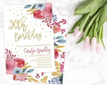 30th Birthday Invitation, 30th Birthday Party Invitation, 30th Birthday Card, 30th Birthday Invitation for Her, 30th Birthday Invite