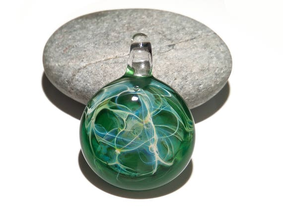 Glass Pendant - Green Space Pendant - Glass Art - Unique Bead - Blown Glass Jewelry - Boro Pendant - Universe Filament -  Pure Fine Silver
