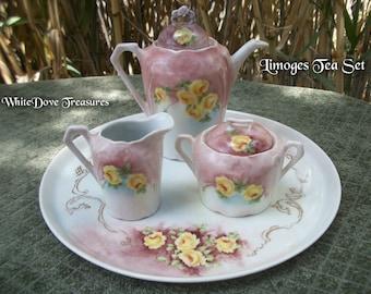 "Limoges Tea Set - Hand Painted Antique Tea Pot Creamer Sugar Bowl & 11.5"" Plate ~ Extraordinary Condition 1930s"