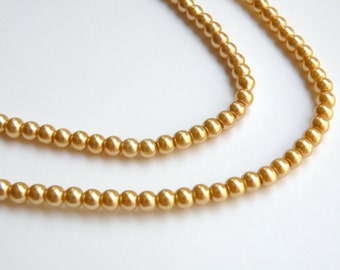 Gold glass pearl beads round 4mm full strand 9859GL