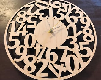 Wooden numbers clock - Offered in 3 sizes  - unpainted