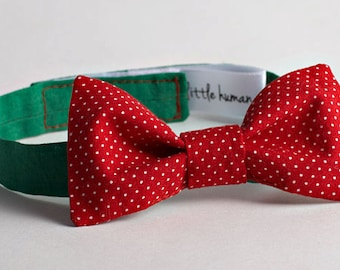 Boy's Bow Tie - Red with White Polka Dots & Green Neckband - Boy's Wedding Bow Tie, Ringbearer Bow Tie, Baby Bow Birthday Bow Tie