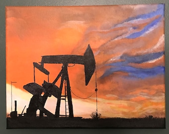 Tree Painting, Blue Tree, Red Trees, Landscape Painting, Oil Rig Sunset Painting, Motorcycle Sunset Painting.