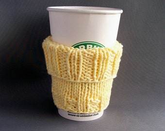 Coffee Cup Mug Sleeve Cozy - Handknit Cotton - Pale Sunny Yellow