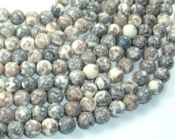 Rain Flower Stone Beads, Light Gray, White, 8mm (8.5mm) Round Beads, 15.5 Inch, Full strand, Approx 48 beads, Hole 1mm, A quality(377054041)