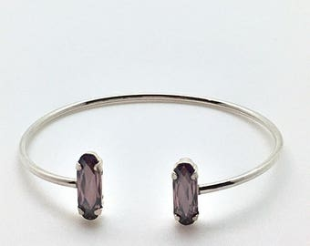 Open Bangle in silver and Crystal Swarovski light pink satin