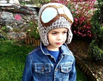 Boys hat, Aviator hat, pilot hat, Crochet hat aviator, adylt hats, photo prop, pilot crochet hat, babyboy hat, newborn hat, winter hat